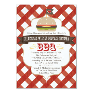 Burger BBQ Couples Wedding Shower Invitations