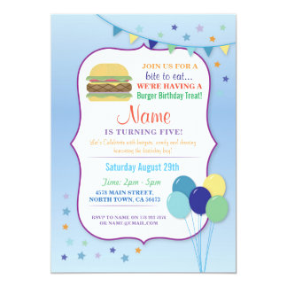Burger Birthday Party Blue Balloon Birthday Invite