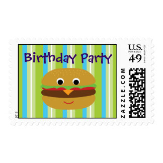 Burger Birthday Party Postage Stamps