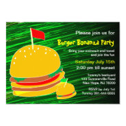 Burger Bonanza Party Invitation at Zazzle
