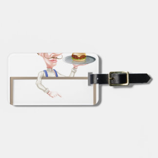 Burger Chef Pointing at Sign Luggage Tags