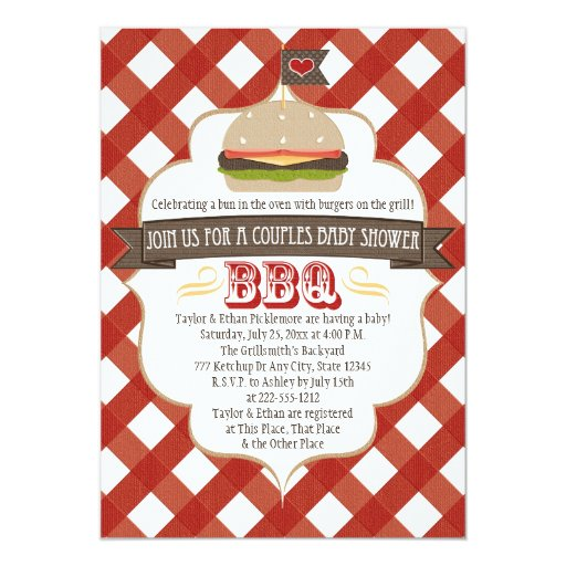 Couples Bbq Baby Shower: Burger Couples BBQ Baby Shower Invitations