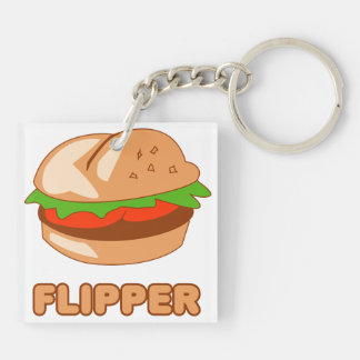 Burger Flipper Double-Sided Square Acrylic Keychain