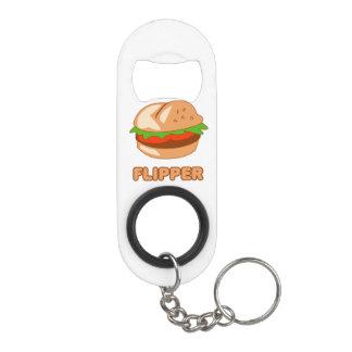 Burger Flipper Keychain Bottle Opener