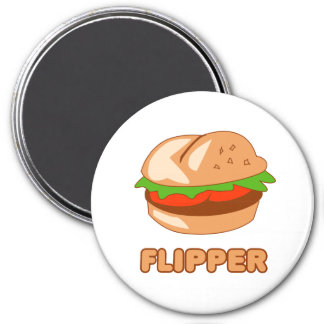 Burger Flipper 3 Inch Round Magnet