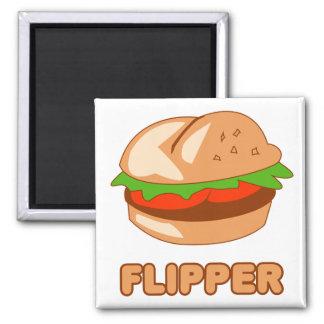 Burger Flipper 2 Inch Square Magnet