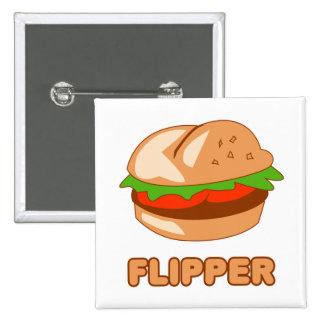 Burger Flipper Pinback Button