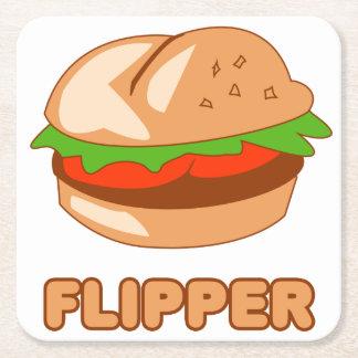 Burger Flipper Square Paper Coaster