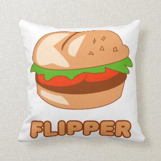 Burger Flipper Throw Pillow