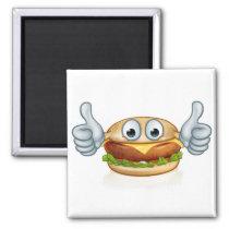 Burger Food Thumbs Up Cartoon Character Mascot Magnet