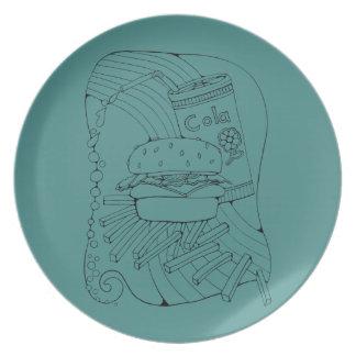 Burger Fries Line Art Design Melamine Plate