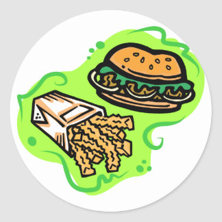 Burger & Fries Round Sticker