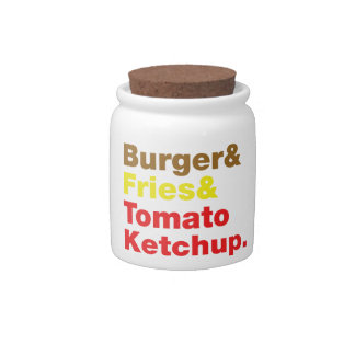 Burger & Fries & Tomato Ketchup. Candy Dishes