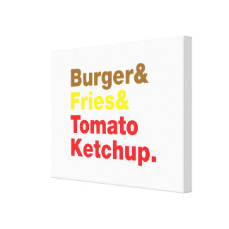 Burger & Fries & Tomato Ketchup. Canvas Print