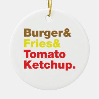 Burger & Fries & Tomato Ketchup. Ceramic Ornament