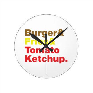 Burger & Fries & Tomato Ketchup. Round Clock