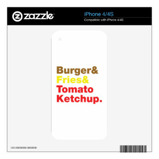 Burger & Fries & Tomato Ketchup. Skin For iPhone 4S