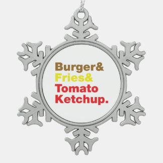 Burger & Fries & Tomato Ketchup. Snowflake Pewter Christmas Ornament