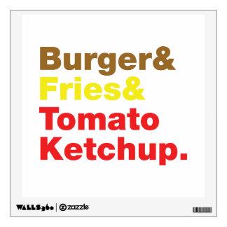 Burger & Fries & Tomato Ketchup. Wall Sticker