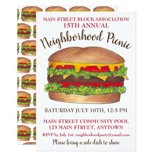 burger hamburger cheeseburger picnic cookout party invitation