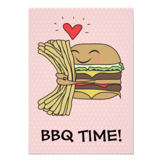 Burger Loves Fries BBQ 5x7 Paper Invitation Card