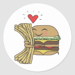 Burger Loves Fries Classic Round Sticker