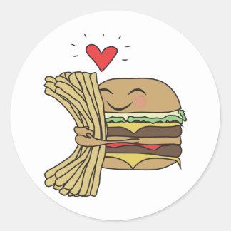 Burger Loves Fries Classic Round Sticker