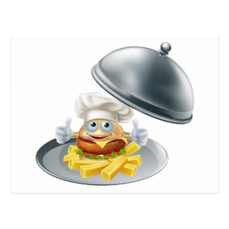 Burger mascot and chips on platter post card