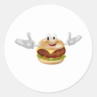 Burger Mascot Man Round Sticker