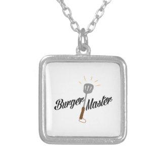 Burger Master Square Pendant Necklace
