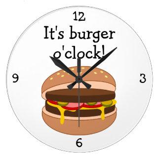 Burger O'Clock fun food graphic Large Clock
