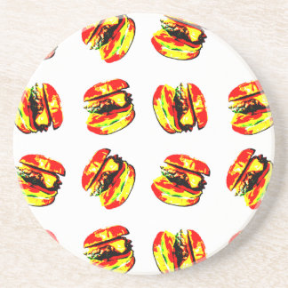 Burger Pattern Drink Coaster