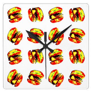 Burger Pattern Square Wall Clock