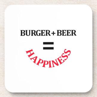 Burger Plus Beer Equals Happiness Drink Coasters