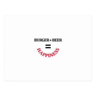 Burger Plus Beer Equals Happiness Postcard