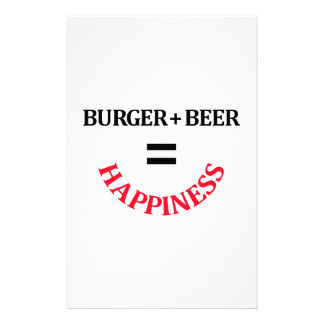 Burger Plus Beer Equals Happiness Customized Stationery