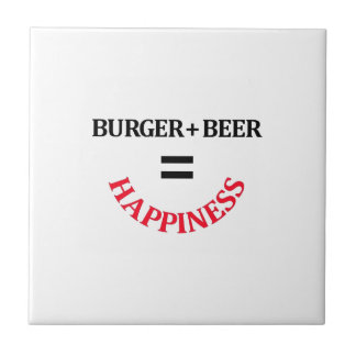 Burger Plus Beer Equals Happiness Tile