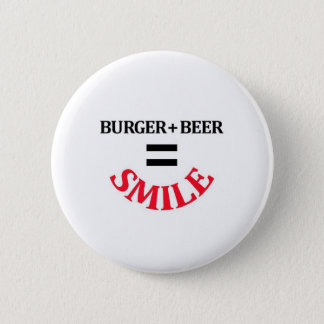 Burger Plus Beer Equals Smile Button