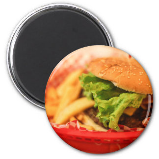 Burger served with fries 2 inch round magnet