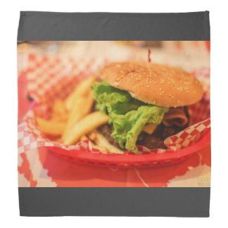 Burger served with fries bandana
