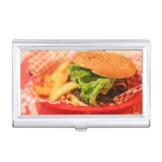 Burger served with fries business card holder