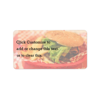 Burger served with fries label