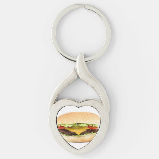 burger Silver-Colored Heart-Shaped metal keychain