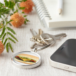 burger Silver-Colored round keychain
