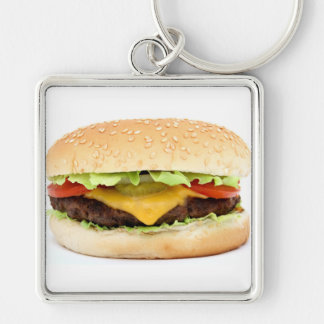 burger Silver-Colored square keychain