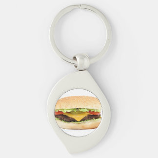 burger Silver-Colored swirl metal keychain