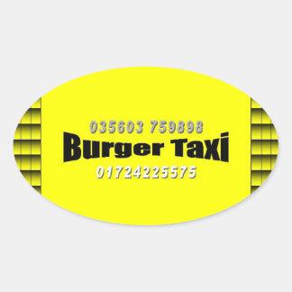 Burger taxi pegatina ovalada