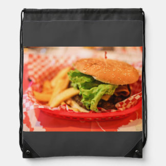 Burger Themed, A Picture Of A Burger Served With F Drawstring Backpack