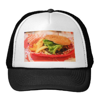 Burger Themed, A Picture Of A Burger Served With F Trucker Hat