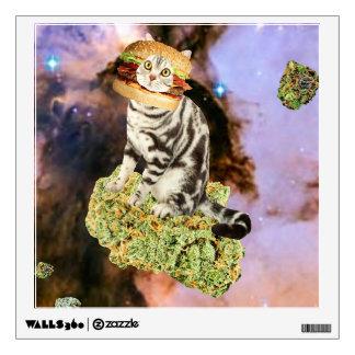 burger weed kat wall decal